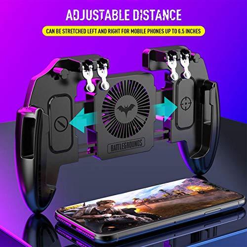 SCYDAO Mobile Gaming-Controller Mit Lüfter Und Halterung, 6 Finger Für PUBG/Call of Duty/Fotnite Gaming Grip Auslöser Für 4,7-6,5