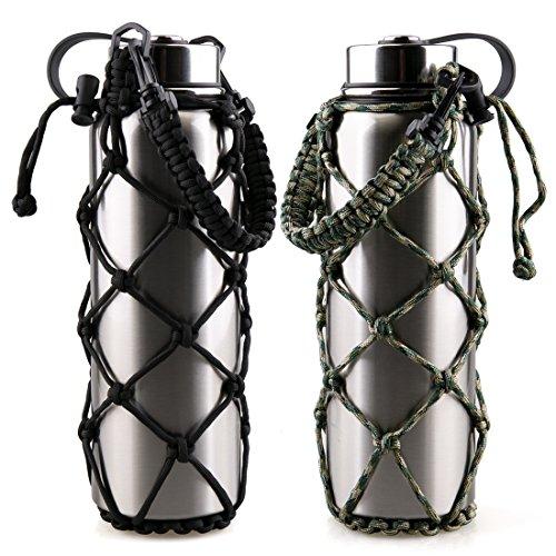 RoryTory - Set di 2 portaborraccia in paracord con tasca a rete di emergenza per borraccia, Nalgene, Contigo, ecc. Ideale per bottiglie in metallo o plastica – tinta unita nero/verde mimetico.