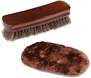 6.7 Inch Large Professional Shoe Shine and Wool Shoe Brushes Gloves. For Boots, Shoes & Other Leather Care. 100% Horsehair Bristles (Shoes Brush Set)