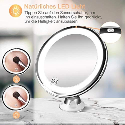 LCJYZBD Miroir cosmétique avec grossissement 10x avec Ventouse rotative sur 360 ° Miroir de Poche sans Fil Portable à Batterie dimmable pour Voyager Blanc Brillant 13