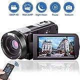 Videokamera Camcorder HD 1080P 24.0MP Video Camcorder Nachtsicht Pausenfunktion 18-facher Digitalzoom Videokamera HD mit Fernbedienung