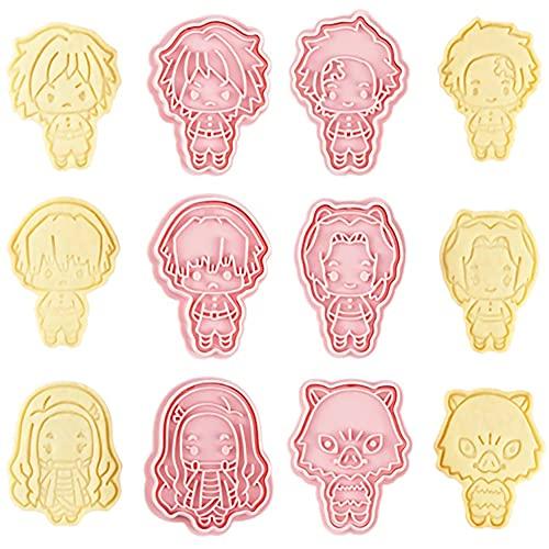 Moldes para Galletas, 6PCS demon slayer Moldes Galletas Infantiles Cortador de Galletas Animales Bricolaje Fondant Cake Decorating para Decorar Pasteles Fondant Galletas Azúcar Chocolat - Rosado