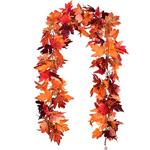 Artiflr 2 Pack Fall Maple Leaf Garland Artificial Maple Garland, Autumn Hanging Fall Leave Vines for Indoor Outdoor Wedding Thanksgiving Dinner Party Decor