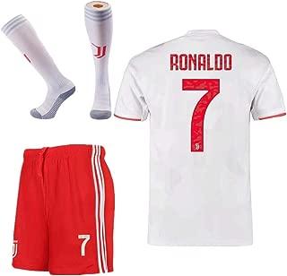 JUVE-JS 3Pcs Juventus #7 Cristiano Ronaldo Away Soccer Shirt & Shorts & Socks 19-20 for Kids and Youth White