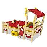 WICKEY Lit enfant 'Crazy Sparky Pro' rouge Lit pour enfant design pompiers - Lit simple en bois massif - 90x200 cm