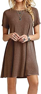 Qiyun Women Summer Solid Color Short Sleeve Loose Casual Mini T-Shirt Dress