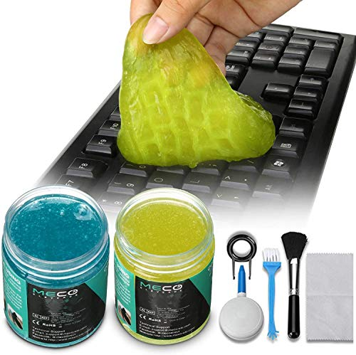 MECO Cleaning Gel Universal, Dust Cleaner Gel with 5 Keyboard Cleaning Set, Detailing Cleaning Gel for Keyboards, Car Dash, Printers, Calculators, Speakers, and Other Appliances (2 PACK/160G)