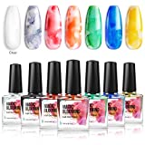 Modelones Blooming Gel Nail Polish, Nail Ink, Magic Watercolor Blossom Nail Varnish Art Flower Marble Autumn Design Manicure, Watercolor Alcohol, Red Orange 7 Colors 10ml each