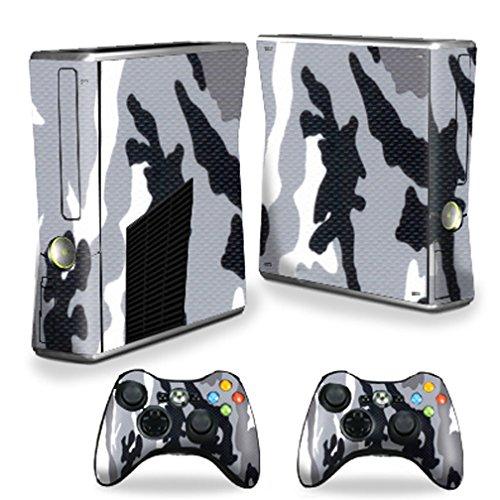 MightySkins Skin Compatible with Microsoft Xbox 360 S Slim + 2 Controller Skins wrap Sticker Skins Grey Camo