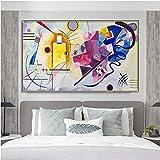 JLFDHR Lienzo artístico de 40 x 60 cm, sin marco, Kandinsky amarillo, rojo y azul, abstracto, famoso, obras de arte, póster, cuadros decorativos para el salón