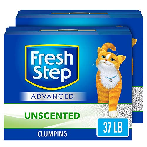 Fresh Step Advanced Clumping Cat Litter with Activated Charcoal & Natural Odor Control - Unscented, 37 lb (2x18.5lb Pack)