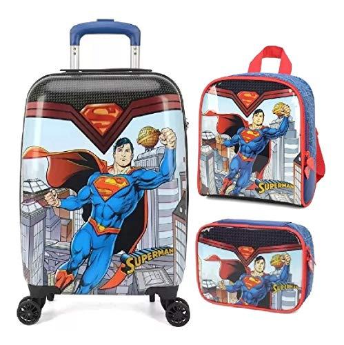 Malinha Mala Escolar Superman 360° G Rodinhas Luxcel