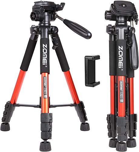 """ZOMEI Q111 58"""" Travel Camera Tripod Lightweight Aluminum with Phone Clip for DSLR SLR Canon Nikon Sony Olympus DV with Carry Bag -11 lbs(5kg) Load (Orange)"""