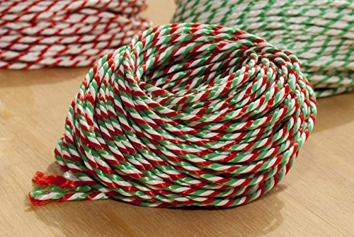 10 Metres of Candy Cane - Christmas - Red/White/Green Craft - Bakers - Butchers - String - Twine + 5 yard 10mm Satin Ribbon Cream with Holly Leaves Print