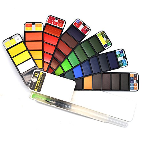 42 Assorted Colors, Foldable Pocket Artist Grade Professional Travel Watercolor Paint Kit/Paint Brush, Perfect for for Professional Artists, Kids, Adults Drawing, Sketch Painting Supplies