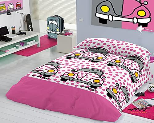 CALLATE LA Boca - Funda Nórdica para Cama de niños 90cm - Diseño Beetle Rosa- 2 Piezas: Funda Nórdica y 1 Funda de Almohada - 100% Algodón