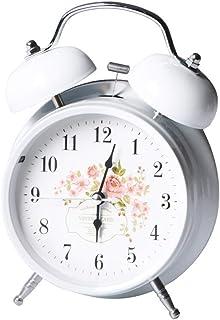 目覚まし時計バッテリー駆動サイレントナイトライトバックライトホームベッドルームベッドサイド置時計ツインベルデザイン農家スタイル Brwzjlizn (Color : B, Size : 11.5cm*5.5cm*16cm)