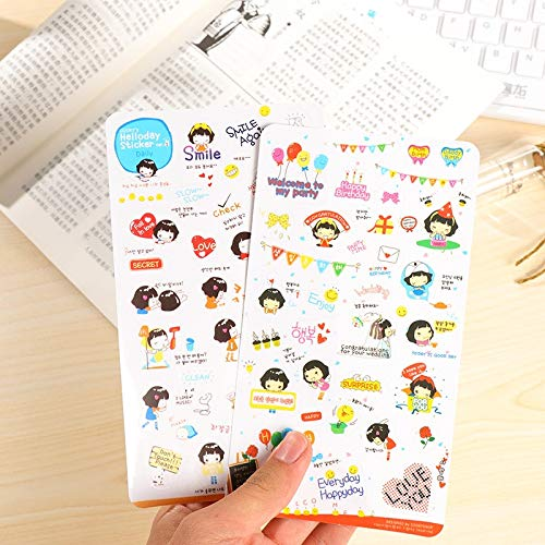10pcs/pack Kpop Stickers Set Cartoon Anime Label Transparent Creative Space Stationery Handbook Album Mobile Fridge Decoration