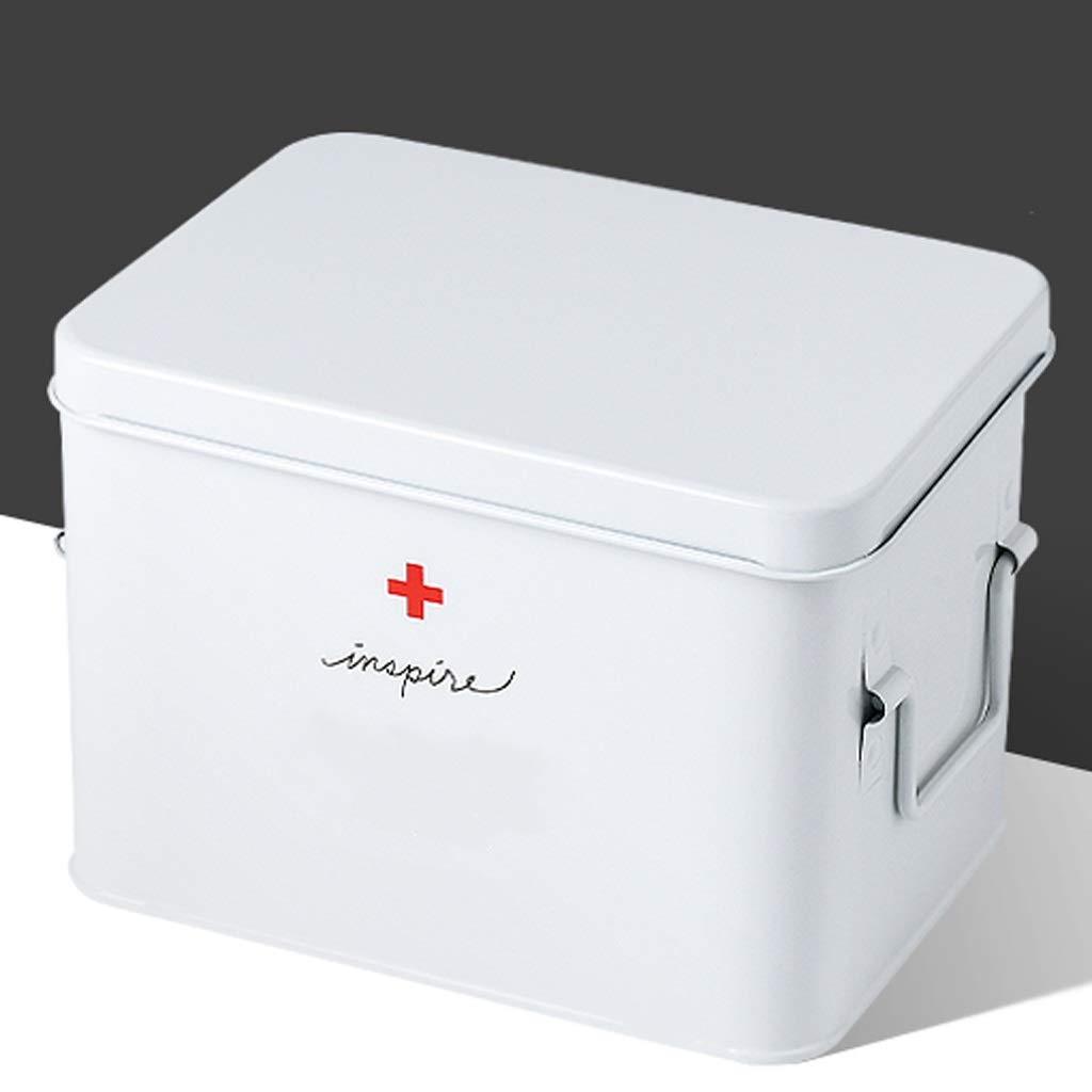 LSXLSD Caja de almacenamiento de medicamentos de doble capa Botiquín de primeros auxilios Caja de almacenamiento de medicamentos Caja de almacenamiento de medicamentos de metal for oficina Hogar Viaje: Amazon.es: Hogar
