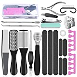 Professional Pedicure Tools Set, 23 in 1 Stainless Steel Foot Care Kit Foot Rasp Dead Skin Remover Pedicure Kit for Men Women Salon or Home Best Gift