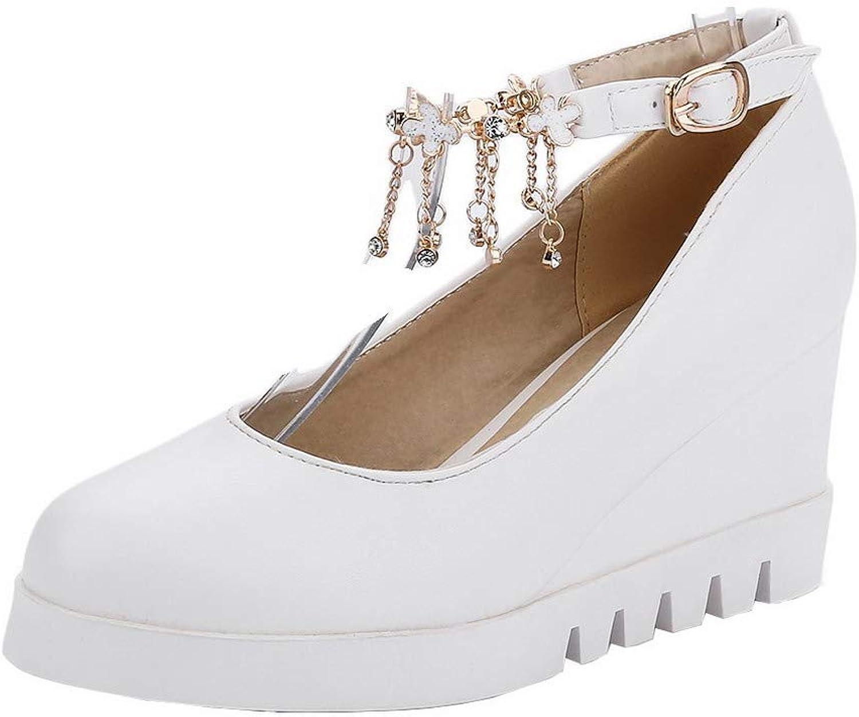 AmoonyFashion Women's Buckle Kitten-Heels Pu Solid Round Toe Pumps-shoes,BUSDT004326