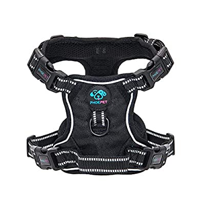 PHOEPET Updated No Pull Dog Harness 3M Reflective Puppy Vest +Training Handle +2 Metal Hooks +4 Snap Buckles +4 Slide Buckles [Easy to Put on & Take Off]