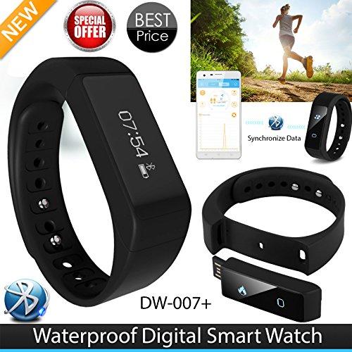 I5Plus OLED Smart Armband Bluetooth 4.0Schrittzähler Tracking Kalorien Gesundheit Armband Schlaf Monitor für iPhone 4S/5S/6/6Plus, iTouch5, iPad 3, Samsung Galaxy S4(i5Plus, schwarz)