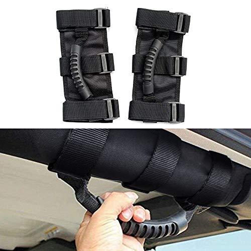 MLING Auto Haltegriffe Robust Unlimitierte Rollstangen Griffe Kompatibel für Wrangler JK YJ TJ CJ JK JL JLU Schwarz 2 Stück