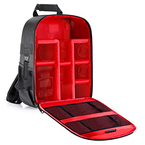 Neewer Professionale Zaino Backpack Impermeabile Antiurto per Fotocamera 31x14x37cm con Tasca Laterale per Treppiedi, per Fotocamere SLR/DSLR/Mirrorless, Flash & Altri Accessori (Rosso all'Interno)