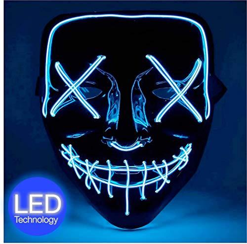 TK Gruppe Timo Klingler LED Grusel Maske blau - wie aus Purge inkl. Batterien mit 3X Lichteffekten, steuerbar, für Halloween, Fasching & Karneval als Kostüm für Herren & Damen (blau)