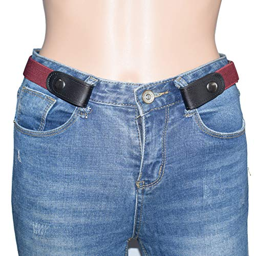 LKZYF Buckle-Free Invisible Elastic Waist Belts-No Bulge Unisex Adjustable Waist Belt for Jeans Pants Wine Red