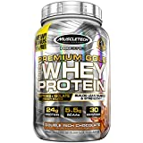 MuscleTech Premium Gold 100% Whey Protein Powder, Whey Protein Isolate & Peptides Shake for Men and Women, 24 Grams of Protein, 5.5g BCAAs, Easy to Mix, Double Rich Chocolate, 2.2 Pounds (30 Servings)