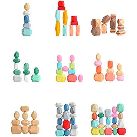 Huyghdfb Multi Color Wooden Building Blocks Set,Natural Wood Toy 16 Pcs Multi-Color-O Rainbow Wooden Mini Stones Stacking Game Rock Blocks