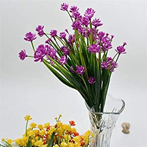 Artificial and Dried Flower Artificial Fake Flowers Floral Daffodils Shrubs Plants Wedding Home Decorative – ( Color: Red Purple )
