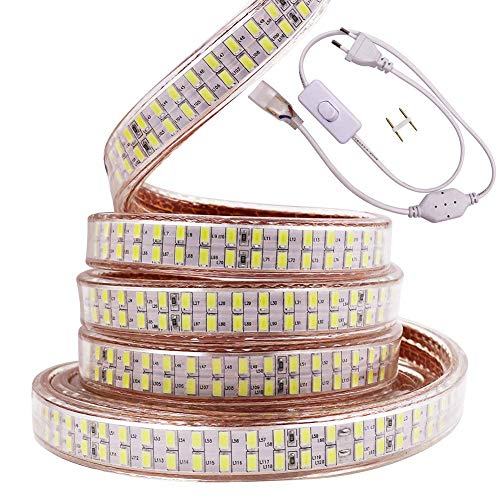XUNATA 220V Super Brillante Tiras LED, SMD 5730 240LEDs/m, IP67 Impermeable, Escalera de Techo Tira de LED Cocina Cable Luces Flexible LED Strip Light Decoración (Blanco Frio, 3m)