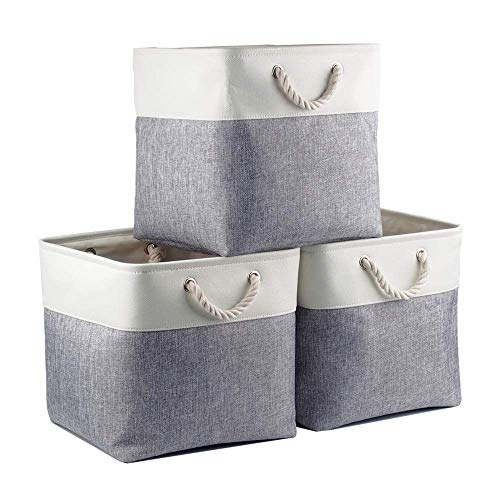 Mangata Canvas Cube Box, Cesta de Almacenamiento de Tela (33 × 33 × 33 cm) para Juguetes, Toallas y Ropa, Blanco/Gris (Paquete de 3)