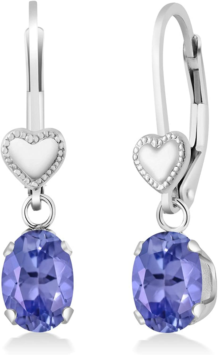 1.50 Ct Oval bluee Tanzanite AAAA 925 Sterling Silver Heart Shape Lever Earrings