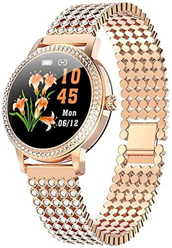 Reloj inteligente para mujer LW20 Ronda impermeable pantalla táctil con monitor de ritmo cardíaco función recordatorio fisiológico femenino pulsera deportiva de moda oro redondo diamante