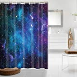 Starry Space Decorations Shower Curtain Blue Galaxy Shower Curtain Nebula Waterproof Bathtub Sets Polyester Fabric for Bath Room Curtain Decor with Hooks(59' W×70' H)