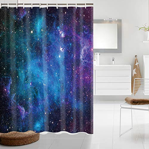 """Starry Space Decorations Shower Curtain Blue Galaxy Shower Curtain Nebula Waterproof Bathtub Sets Polyester Fabric for Bath Room Curtain Decor with Hooks(59"""" W×70"""" H)"""
