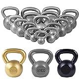 GORILLA SPORTS® Kettlebell 2-32 kg Gusseisen Einzeln/Set – Fitness-Kugelhantel in 17...