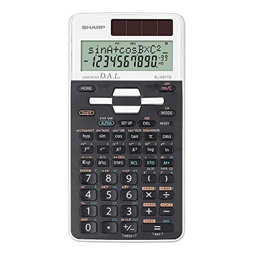 Sharp EL-531 TG-WH - Calcolatrice scientifica (D.A.L, alimentata a energia solare/a batteria, colore: Bianco