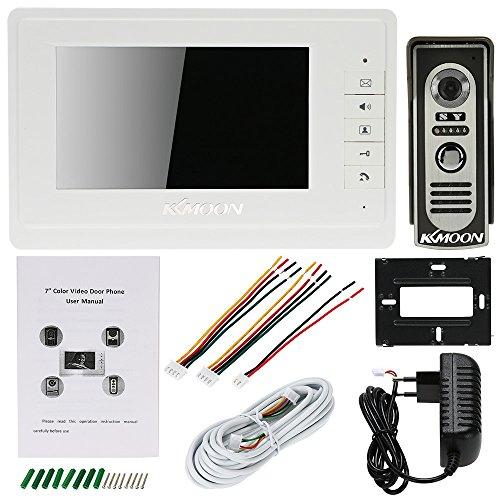 Festnight KKmoon Sistema telefónico de videoportero con cable de 7 pulgadas Timbre de puerta con intercomunicador visual con 1 monitor de interior de 800x480 + 1 soporte de cámara de exterior de 700T