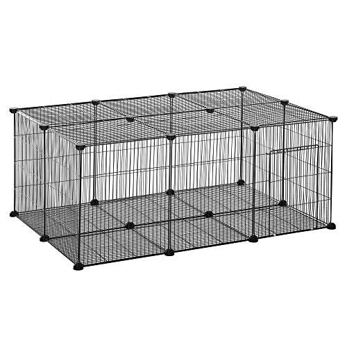Pawhut Parque para Mascotas DIY Jaula para Animales Pequeños de 22 Paneles de Malla Metálica con Puerta Conejos Gatitos Cobaya 105x70x45 cm Negro