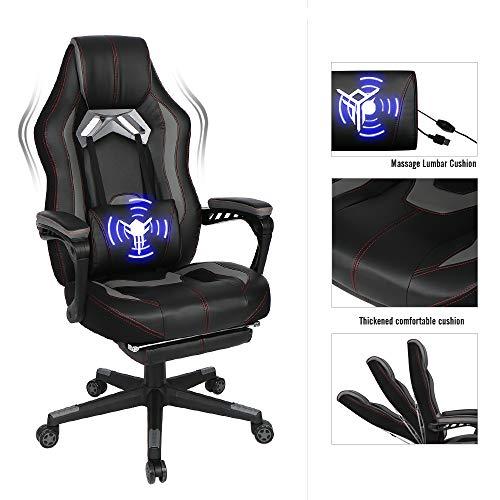Fullwatt Gaming-Stuhl, mit Fußstütze für Erwachsene, hohe Rückenlehne, verstellbar, drehbar, Bürostuhl, mit Lendenwirbelbereich massage and Splicing chair back grau