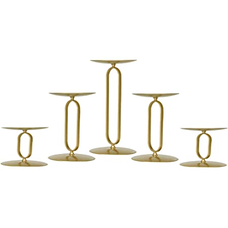 smtyle Gold Candle Holder for Pillar Candles Set of 5 Plate Centerpiece for Table or Floor with Iron