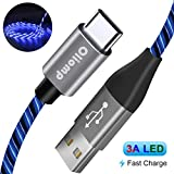 USB C Cable, 6FT 3A Fast Charger, Oliomp 360° Visible Lighted Up LED Flowing Light Cable, USB Type C Cable Charging Cord Compatible with Samsung Galaxy S10 S9 S8 Note 9, Pixel, LG V30 V20 G6 (Blue)
