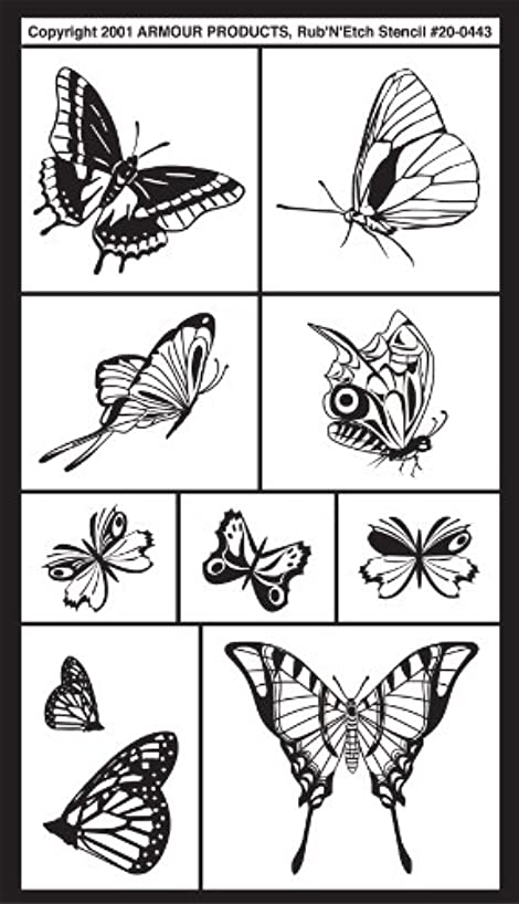 Armour Products Etch Rub N Etch Stencil, 5-Inch by 8-Inch, Assorted Butterflies