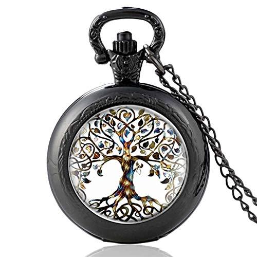 TUANZI Clásico Retro Moda clásica El árbol de la Vida diseño de Cuarzo Reloj de Bolsillo Hombres Mujeres Colgante Colgante Cadena Recuerdos Unisex (Color : Black A)