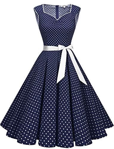 Gardenwed Damen 50er Jahre Rockabilly Kleid mit Blumenmuster Ärmellos Knielang Schwingen Partykleider Navy Small White Dot 3XL